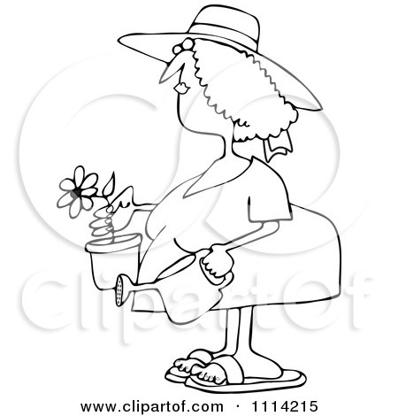 Clipart Outlined Woman Holding A Potted Flower And Watering Can - Royalty Free Vector Illustration by djart