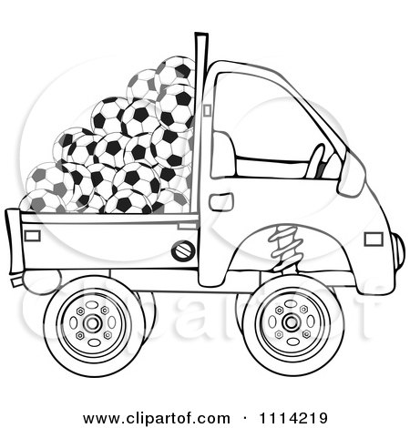 Clipart Outlined Kei Truck With Soccer Balls - Royalty Free Vector Illustration by djart