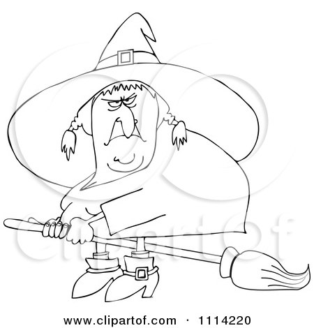 Clipart Outlined Mean Ugly Witch Flying On A Broom - Royalty Free Vector Illustration by djart