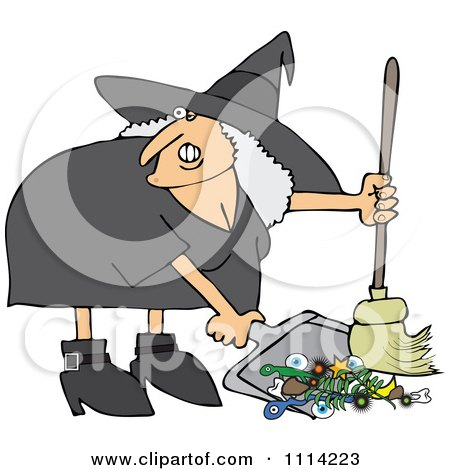 Clipart Ugly Witch Sweeping Up Spell Items With A Broom - Royalty Free Vector Illustration by djart