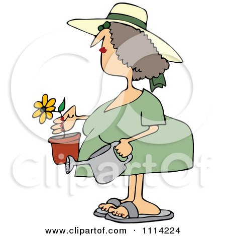 Clipart Woman Holding A Potted Flower And Watering Can - Royalty Free Vector Illustration by djart
