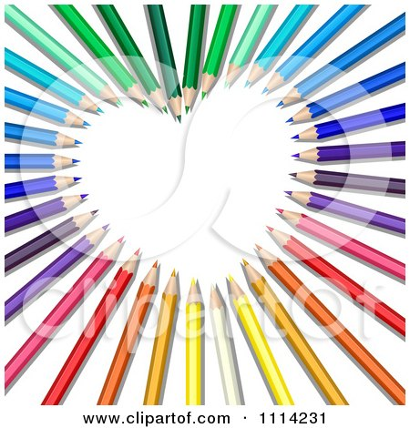 Clipart 3d Colored Pencils Forming A Heart Frame - Royalty Free Vector Illustration by Oligo