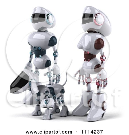 Clipart 3d Futuristic Robotic Couple Walking With Their Dog - Royalty Free CGI Illustration by Julos