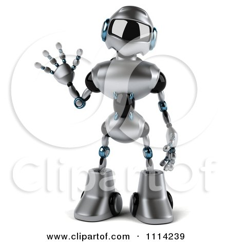 Clipart 3d Silver Male Techno Robot Waving - Royalty Free CGI Illustration by Julos