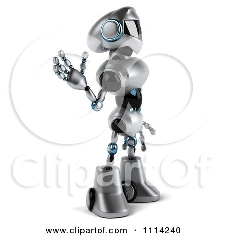 Clipart 3d Silver Male Techno Robot Facing Right And Waving - Royalty Free CGI Illustration by Julos