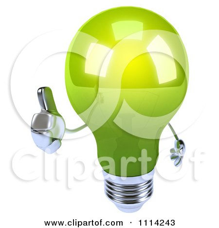 Clipart 3d Green Lightbulb Holding A Thumb Up - Royalty Free CGI Illustration by Julos