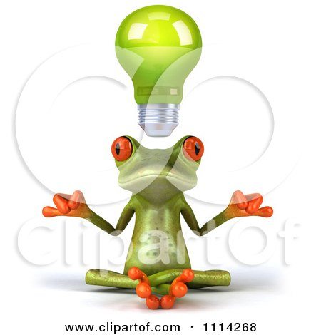 3d Green Frog Meditating Under A Lightbulb Posters, Art Prints