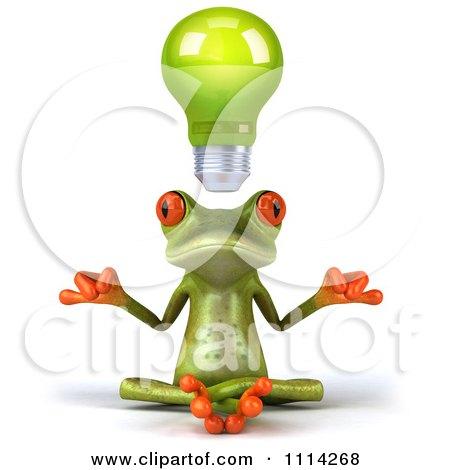 Clipart 3d Green Frog Meditating Under A Lightbulb - Royalty Free CGI Illustration by Julos