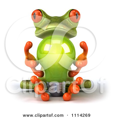 3d Green Frog Sitting With A Lightbulb Posters, Art Prints