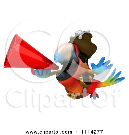 Clipart 3d Pirate Macaw Parrot Squaking Through A Megaphone 2 - Royalty Free CGI Illustration by Julos