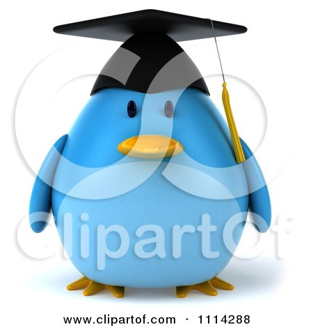 Clipart 3d Blue Penguin Graduate - Royalty Free CGI Illustration by Julos
