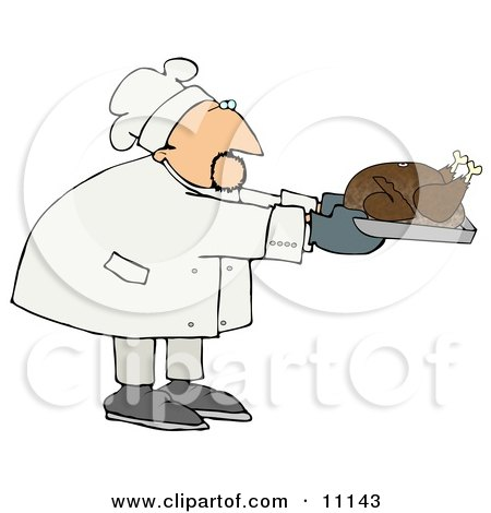 Male Chef in a Chefs Hat, Holdinga Thanksgiving Turkey in a Roasting Pan Clipart Picture by djart