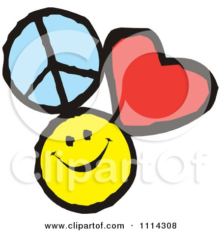 Peace Love And Happiness Icons Posters, Art Prints by Johnny Sajem ...