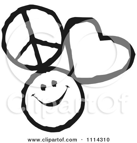 Peace Love And Happiness Icons In Black And White Posters ...