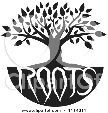 Clipart Black And White Family Tree With Roots Text - Royalty Free Vector Illustration by Johnny Sajem