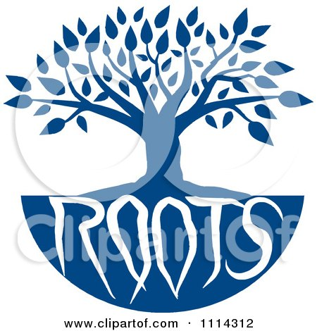 Clipart Blue Family Tree With Roots Text - Royalty Free Vector Illustration by Johnny Sajem