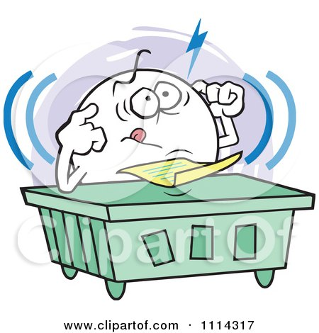 Clipart Frustrated Moodie Character Trying To Focus At A Desk - Royalty Free Vector Illustration by Johnny Sajem