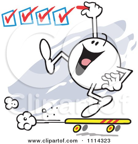 Clipart Moodie Character On A Roll Checking Off Boxes - Royalty Free Vector Illustration by Johnny Sajem