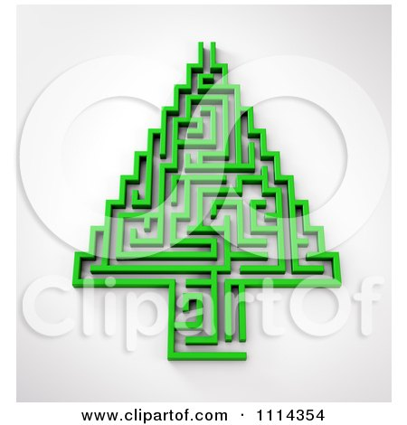 Clipart 3d Green Maze Christmas Tree - Royalty Free CGI Illustration by Mopic