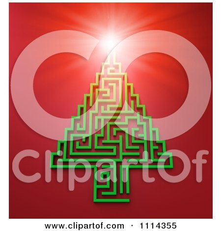 Clipart 3d Light Shining On A Green Maze Christmas Tree Over Red - Royalty Free CGI Illustration by Mopic