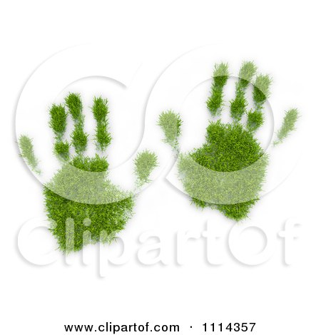 Clipart 3d Grassy Hand Prints - Royalty Free CGI Illustration by Mopic