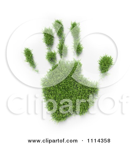 Clipart 3d Grassy Hand Print - Royalty Free CGI Illustration by Mopic