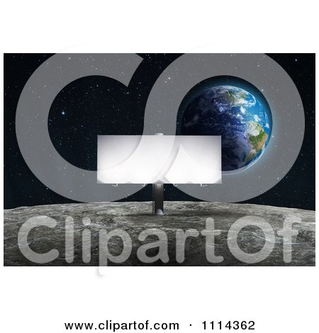 Clipart Illuminated Billboard Sign On The Moons Surface With Earth Rising In The Background - Royalty Free CGI Illustration by Mopic