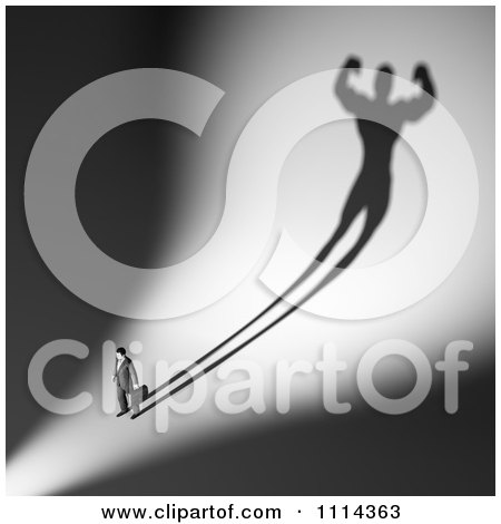 Clipart 3d Businessman With A Strong Man Shadow - Royalty Free CGI Illustration by Mopic