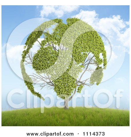 Clipart 3d Globe Tree With Leafy Continents On A Hill - Royalty Free CGI Illustration by Mopic