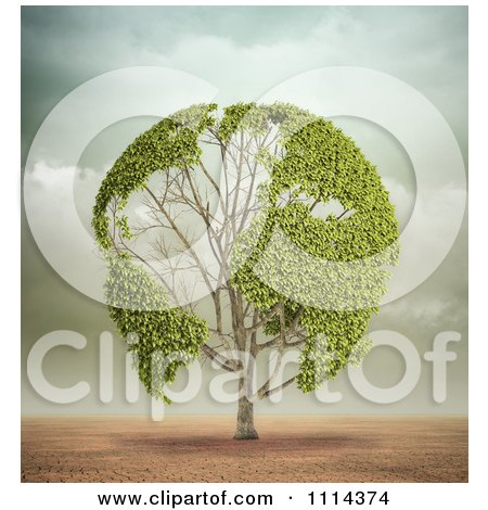 Clipart 3d Globe Tree With Leafy Continents In A Desert - Royalty Free CGI Illustration by Mopic