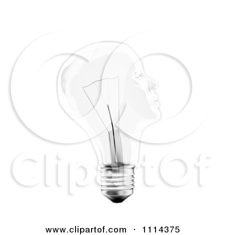 Clipart 3d Transparent Light Bulb Head - Royalty Free CGI Illustration by Mopic