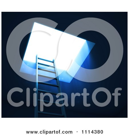 Clipart 3d Ladder Leading To Bright Light - Royalty Free CGI Illustration by Mopic