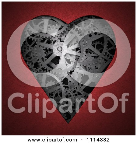 Clipart 3d Gear Cogs In The Shape Of A Heart Framed By Red - Royalty Free CGI Illustration by Mopic