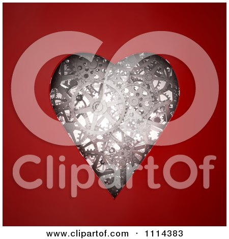 Clipart 3d Gear Cog Wheels In The Shape Of A Heart Framed By Red - Royalty Free CGI Illustration by Mopic