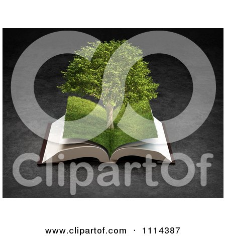 Clipart 3d Grassy Paged Open Book With A Tree - Royalty Free CGI Illustration by Mopic