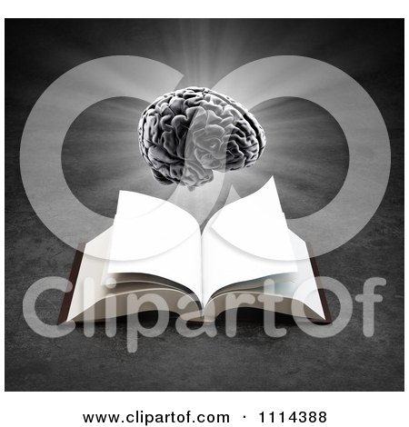 3d Glowing Brain Hovering Over An Open Book On Gray Posters, Art Prints