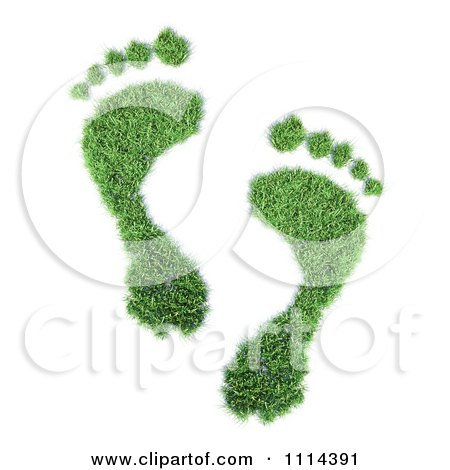 Clipart 3d Green Footprints - Royalty Free CGI Illustration by Mopic