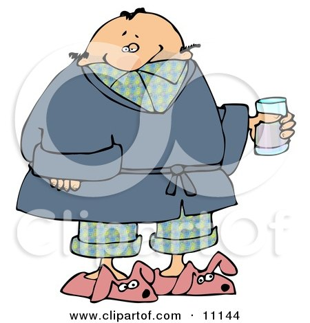 Ill Man in PJs, Slippers and a Robe, Taking Cold Medicine While Staying Home on a Sick Day Clipart Picture by djart