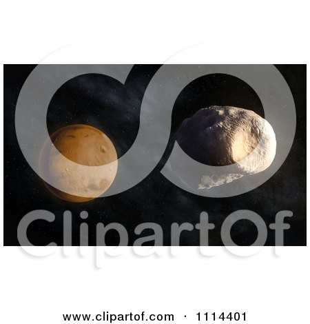 Clipart 3d Mars' Larger Moon Phobos With Stickney Crater Visible - Royalty Free CGI Illustration by Mopic