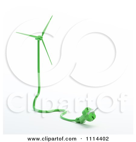 Clipart 3d Green Electric Cable And Plug Forming A Windmill - Royalty Free CGI Illustration by Mopic