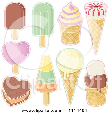 Clipart Assorted Ice Cream Desserts - Royalty Free Vector Illustration by Any Vector