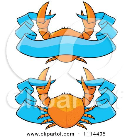Orange Crabs And Blue Ribbon Banners Posters, Art Prints