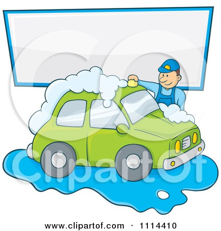 Clipart Man Washing A Green Car Under A Sign - Royalty Free Vector Illustration by Any Vector