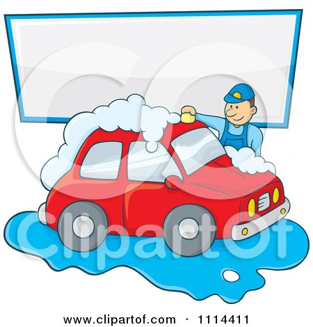 Clipart Man Washing A Red Car Under A Sign - Royalty Free Vector Illustration by Any Vector