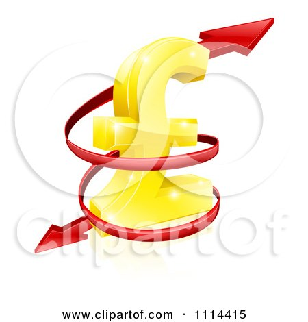 Clipart 3d Red Spiraling Arrow Around A Golden Lira Pound Currency Symbol - Royalty Free Vector Illustration by AtStockIllustration