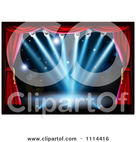 Clipart Empty Theater Stage With Red Curtains And Blue Shining Lights - Royalty Free Vector Illustration by AtStockIllustration