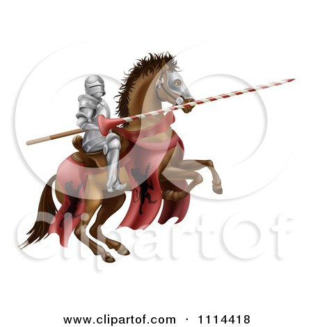 Clipart 3d Knight Holding A Jousting Lance On A Rearing Horse - Royalty Free Vector Illustration by AtStockIllustration