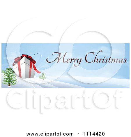 Clipart Giant 3d Gift Box In A Winter Landscape With Merry Christmas Text - Royalty Free Vector Illustration by AtStockIllustration