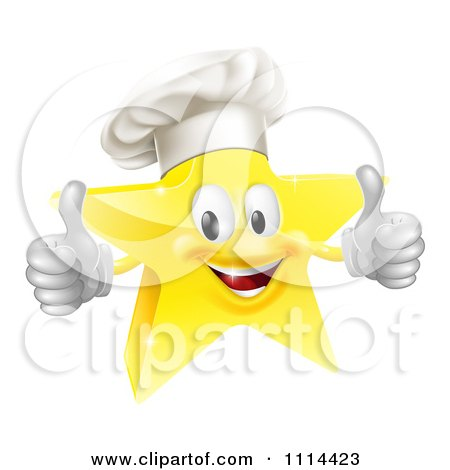 Clipart 3d Chef Star Holding Two Thumbs Up - Royalty Free Vector Illustration by AtStockIllustration