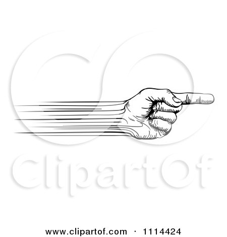 Clipart Black And White Speed Lines Creating A Pointing Hand - Royalty Free Vector Illustration by AtStockIllustration